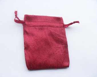 """50 Wine Red Dupioni Silk drawstring Pouch 3"""" X 4"""" for stamping jewelry bath salts herbs handmade soap"""