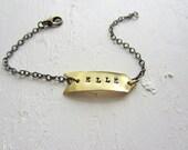 Gold Brass Arrow Bracelet // Hand Stamped Personalized Jewelry // Custom Initial Jewelry