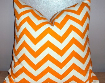 Orange Chevron Zig Zag Decorative Pillow Cover - Available In 3 Sizes