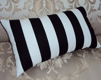 Black and White Stripe Decorative Lumbar Pillow Cover - Available In 3 Sizes -BESTSELLER