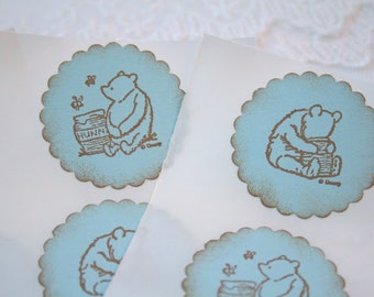 Winnie the Pooh Stickers Baby Shower Birthday Envelope Seals - Vintage Blue Set of 12
