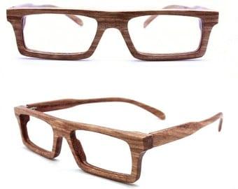 MJX1201 handmade zebra wood eyeglasses with bamboo case and prescription lenses