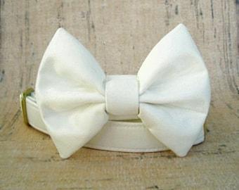Ivory Wedding Bow Tie Collar with Brass Hardware