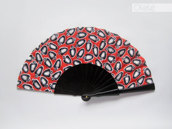 Wax print fan - Black and red
