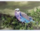 Blue Bellied Roller Bird Print, Digital Painting, Digital Bird Painting