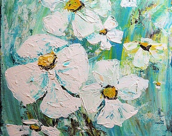 Acrylic Abstract Art, Palette Knife Painting,  Heavy Texture, White Flowers, Floral Painting