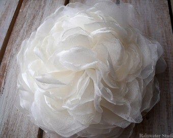 Ivory Shimmery Organza Peony Wedding Hair Flower, Ivory Shimmery Organza Fascinator, Hair Clip