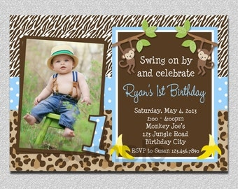 Boys Jungle Birthday Invitation Monkey Birthday Invitation Monkey Birthday Party Invitation Printable