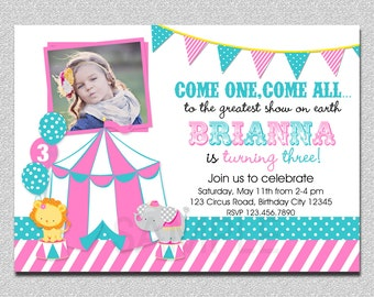 Carnival Birthday Invitation 1st Birthday Carnival Birthday Party Invitation