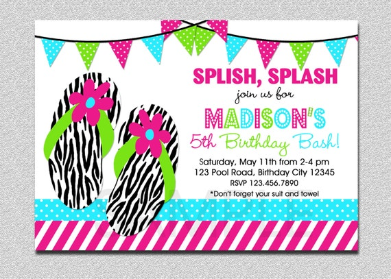 Splish Splash Pool Party Invitation 1St Birthday Pool Party