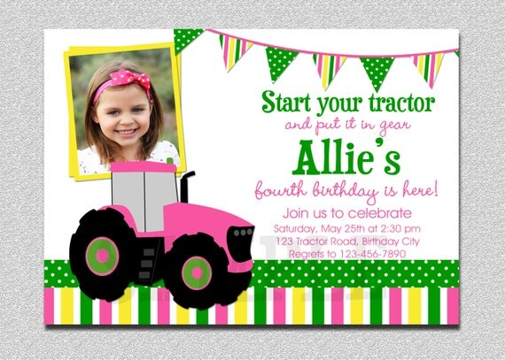 tractor birthday invitation tractor birthday party, Birthday invitations