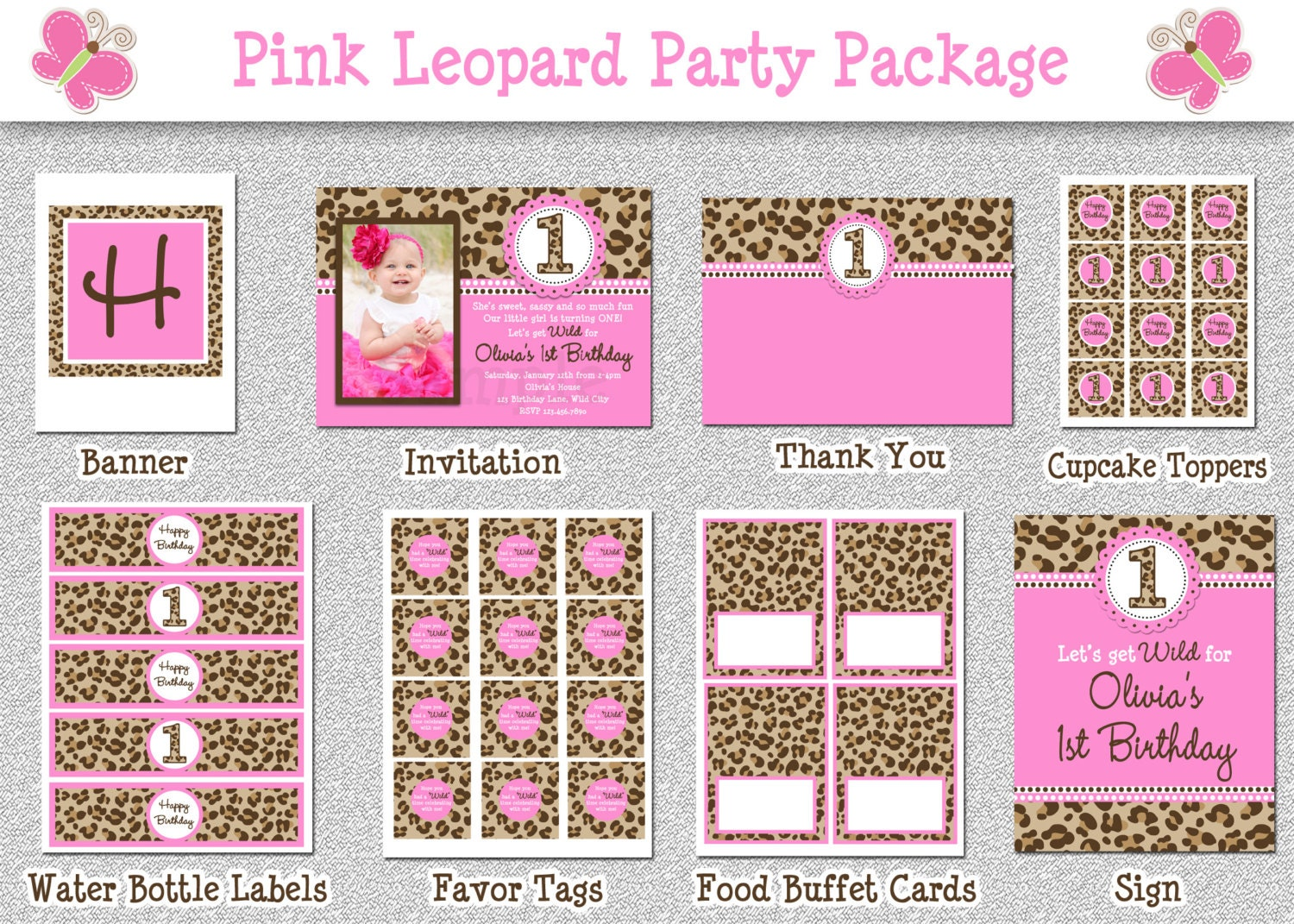 Leopard birthday party package hot pink by thetrendybutterfly for 1st birthday decoration packages