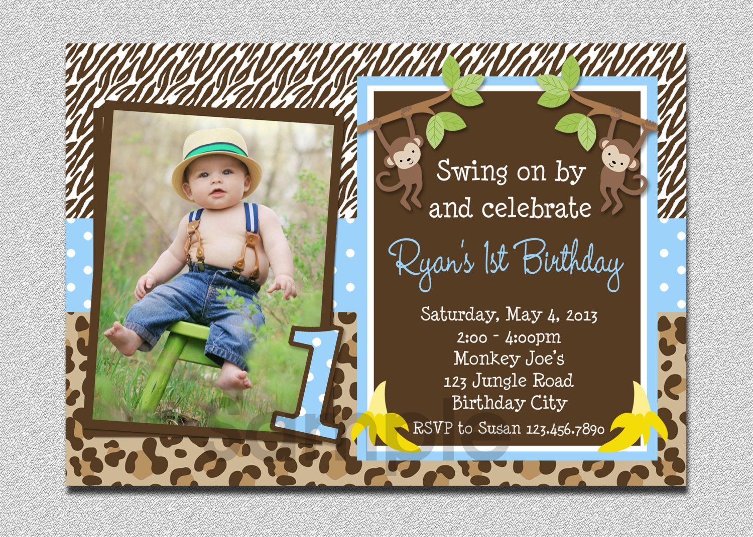 Boys Jungle Birthday Invitation Monkey Birthday Invitation – Safari First Birthday Invitations