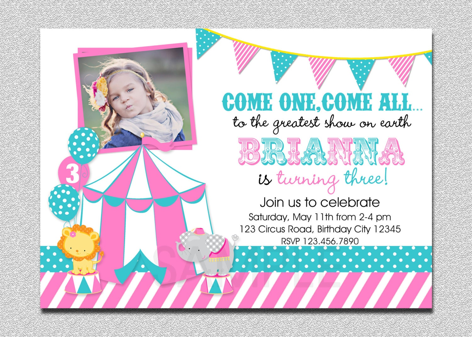 Carnival Birthday Invitation 1st Birthday Carnival Birthday