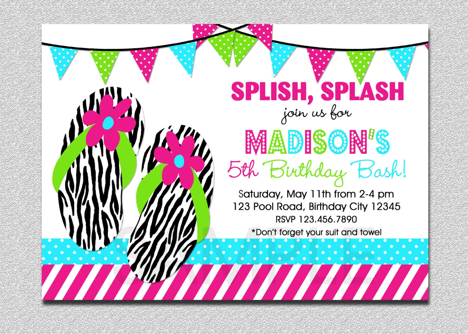 Flip Flop Birthday Invitation Splish Splash Pool Party – Pool Party Invitations for Girls