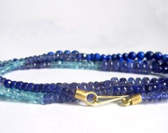 Opera Strand - Sapphire Lapis Lazuli Aquamarine Blue Topaz 18K Gold Necklace - Blue Gemstone Bead Strand - Colorful Gemstone Necklace