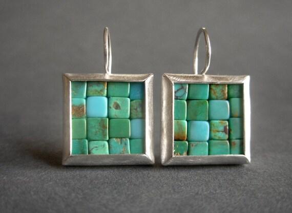 Mosaic Earrings - Turquoise Silver Earrings - Square Earrings - Blue Gemstone Earrings - Go To Earrings - Turquoise Earrings - Blue Earrings