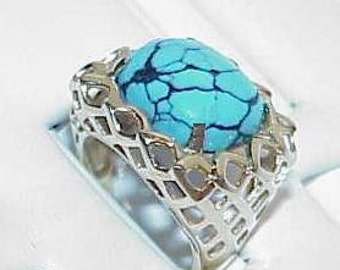 14K Turquoise Cabochon Basket Weave Ring Yellow Gold Size 6.25 Vintage
