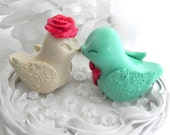 Wedding Cake Topper, Kissing Love Birds, Mint Green, Ecru, and Coral, Bride and Groom,