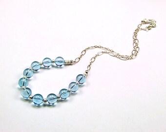 Genuine Sky Blue Topaz Sterling Silver Necklace - N332