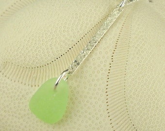 Real Sea Glass, Beach Glass, Sea Foam Sea Glass Necklace, Bar Necklace, Beach Glass Necklace, Modern Jewelry, Modern Necklace, Gift For Her