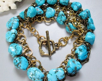 Natural Blue Turquoise and gold Necklace, Handmade Necklace
