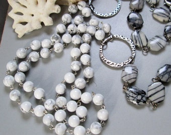 Long Jasper and Howlite Necklace, Handmade Jewelry