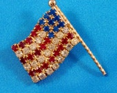 Vintage Hobe Rhinestone Flag Brooch, Signed American Figural Pin