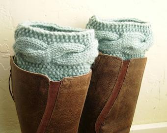 Leg Warmers - Boot cuffs - Handknit Mint Blue Boot Cuffs - Cable knit boot toppers - Seafoam boot toppers - Warm legwarmer