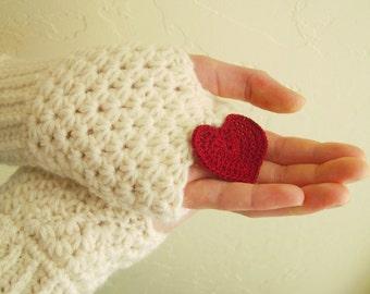 Fingerless gloves in cream - knit hand warmers - mittens - arm cuffs - acrylic - Bridesmaid winter gloves - women gloves