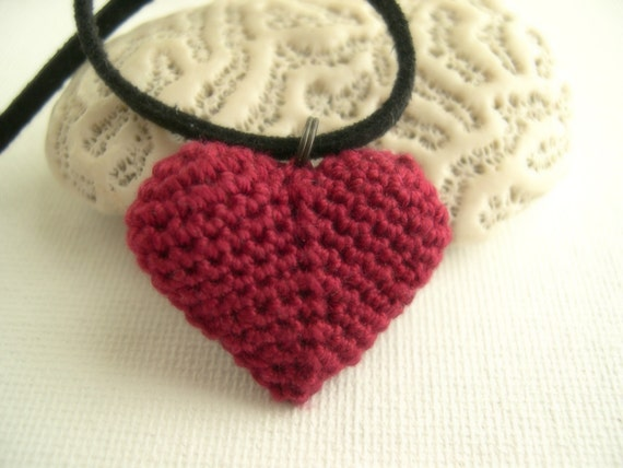Heart Pendant Necklace - Lace necklace - Red heart crochet necklace - Anniversary gift - Made in America - girlfriend gift - Valentines day