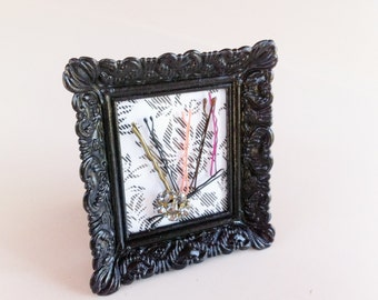 Bobby Pin Holder, Hair Pin Holder, Sewing Pin Holder: black and floral frame