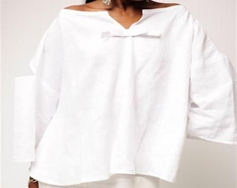 White Linen Top, Swing Top,  Bow Trim, Geometric Details, Slits, Bateau Neckline, Medium Length, Three-Quarter Sleeves, Cool, Cruise, Summer