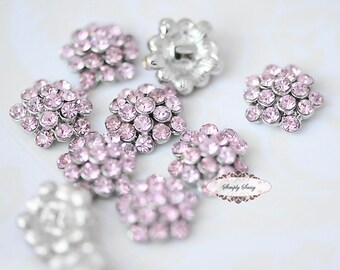 20 Rhinestone Metal Flatback Embellishment Button Pale PINK  RD64 Crystal DIY invitations flowers weddings bouquet brooch bling