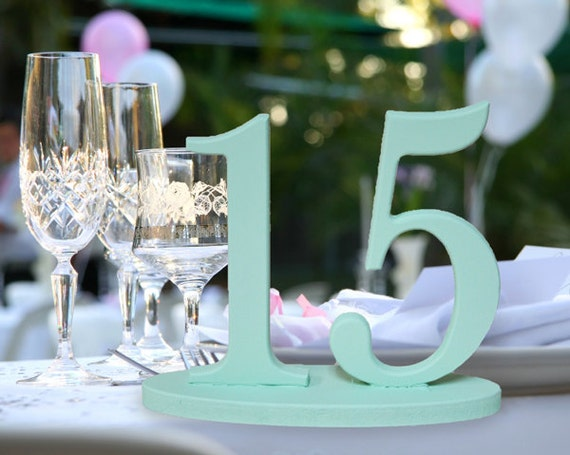 Table Numbers in Mint, Wooden Numbers for Tables in Custom Colors, Mint and Peach Wedding
