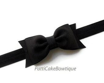 Baby Headband, Black Headband, Black Hair Bow w/ Adjustable Headband, Black Hair Bow Clip, Baby Girl Headband, Toddler Headband, 78