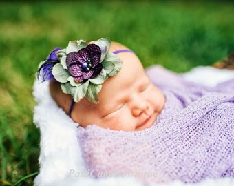 Baby Headband, Skinny Elastic Purple and Sage Flower Headband for Newborn Baby or Baby Girl, Great Photo Prop