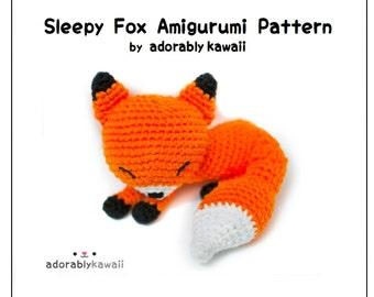 Sleepy Fox Amigurumi  Pattern, Fox Crochet Pattern, PDF Amigurumi Pattern, Sleeping Fox Amigurumi, Fox Plushie, DIY Pattern, Fox Nursery Toy