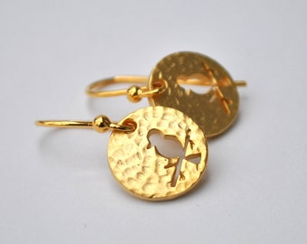 Bird earrings Hammered gold plate or rhodium plated drop earrings