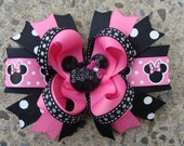 custom listing Minnie Mouse Hair Bows Large Boutique Hair Bow Pink and Black