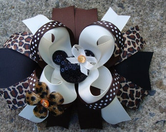Minnie Mouse Hair Bow-Large Hair bow Safary Hair Bow