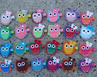 2 Embroidered Owl Hair Clip Owl Hair Clip Felt Hair Clip you choose any TWO