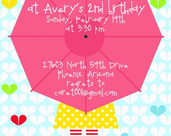 Rain Boot Umbrella Printable Birthday Party or Baby Shower Invitation - Petite Party Studio