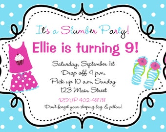 Slumber Party Birthday Invitation --  flip flops pajama party, sleepover -- You print or I print