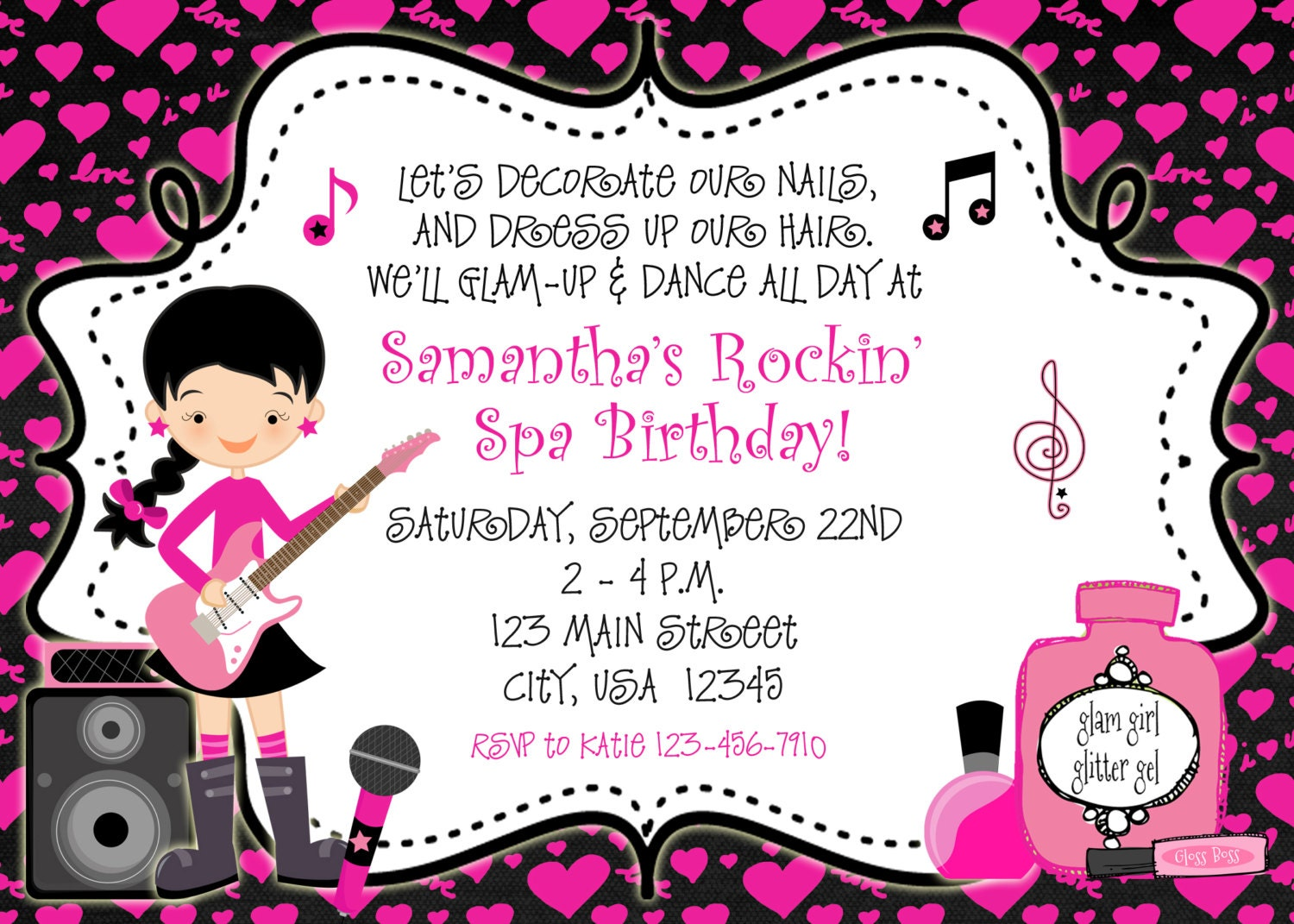 Rockin Spa Birthday Party Invitation glamour dance party – Dance Party Invites