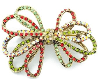 Multicolor Bowknot Pins Swarovski Crystal Pin Brooch 1012492