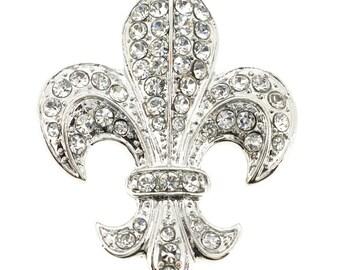 Silver Chrome Fleur-De-Lis Brooch/Pendant 1001472