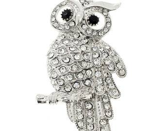 Silver Owl Pin Bird Pin Brooch 1003512