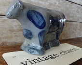 Cow Stone Ware Figurine Blue and Gray