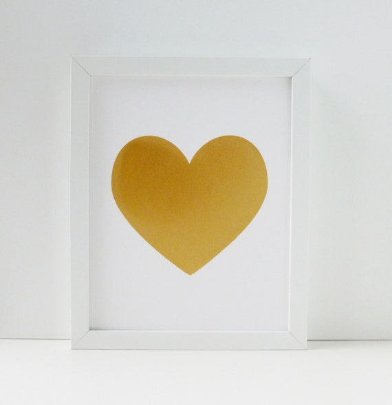 Heart of Gold Screen Printed Poster - Romantic - Love - 8x10